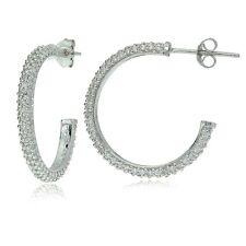 Sterling Silver Cubic Zirconia Half Round Hoop Earrings