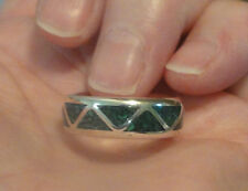 Sterling Silver Crushed Green Malachite Inlay Southwestern Ring Band Sz 7