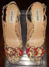 Steve Madden Fauntain Leopard Print Slingback Wedges Heels Size 10M