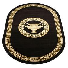 Teppich 152x230 Oval Schwarz Kunst-Seide Mäander Medusa Carpet Rug versac
