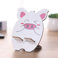 Wooden Mobile Phone Holder Cute Cartoon Animal Colorful Print Stand Foldable
