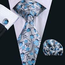 New Grey Mens Necktie Blue Floral Classic Tie Hanky Cufflinks Set JACQUARD WOVEN
