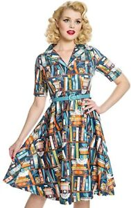 NWT LINDY BOP BLETCHLEY BOOKSHELF DRESS TURQUOISE WORLD BOOK DAY 10 12  16 18