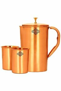GOOD QWALITY Lacquer Coated Copper Jug with 2 Glass Brown