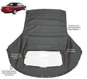 Chrysler Sebring Convertible Top & Plastic window Black Sailcloth 1996-2006 NEW