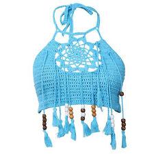 Women Summer Crochet Lace Bralette Knit Bra Boho Bikini Cami Tank Crop Top