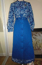true Vintage M&S 1960s-70s Long Sleeve maxi full length evening formal Dress MOD