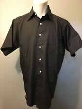 Vtg 1960s 60s Nos Black Poly Cotton Dress Shirt Mens M-L Rockabilly Mod Gangster