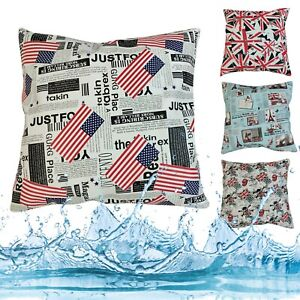 Pillow Cover*Water Proof Faux Leather Patio Sofa Seat Outdoor Cushion Case *Pr