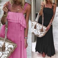 Womens Ruffle Summer Sleeveless Dress Sundress Club Party Long Maxi Dress Plus