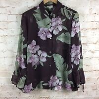 Tommy Bahama Vintage Button Down Brown Tropical Floral Silk Blouse Top Medium