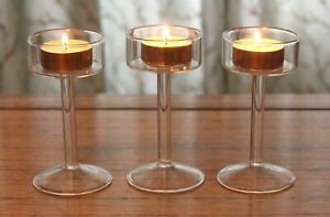 Set of 3 Tall Glass Large Tea Light Candle Holders