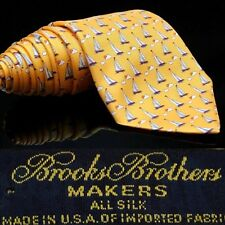 Brooks Brothers Blue Gold Sail Boat's Boat Sea Clouds Dream Tie