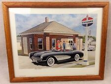 JACK SCHMITT Print AS YOU TRAVEL ASK US 1988 Standard Oil CLASSIC CARS Signed 2x