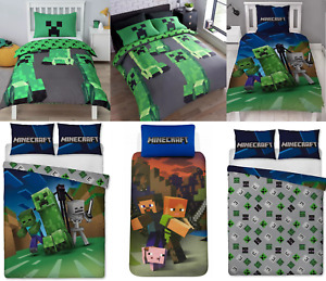 Minecraft Creeper Creeps Good Guys Kids Single/Double Duvet Cover Set Gamer Boys