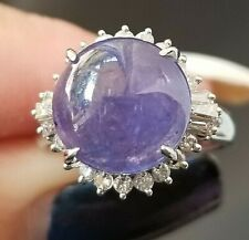 6.43TCW  Vintage Cabochon Purple Tanzanite Diamond Platinum ring SZ 6