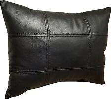 Glanz Schwarz Lederkissen Echt Leder Sofa Dekokissen aufgefüllt Kissen