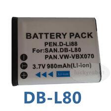Camera Battery For SANYO DB-L80 DBL80 Xacti VPC-GH1 VPC-GH2 VPC-GH3 CG20 K210