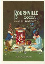 """BOURNVILLE COCOA-CADBURY-RABBIT-PICNIC-GIRL-ADV-REPRO-4""""X6""""(DV-411*)"""