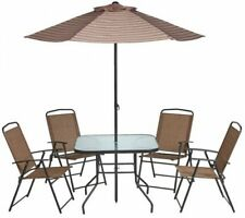 Dining Patio Set 6-Piece Folding Table Chairs Umbrella Beige Brown Outdoor