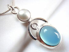 Freshwater Pearl and Chalcedony Pendant 925 Sterling Silver with Arc Accent New