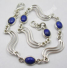 "925 Sterling Silver CABOCHON LAPIS LAZULI 5 Gems HANDWORK Bracelet 8.3"""