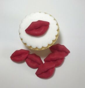 12 Edible Sugarpaste LIPS Cupcake Toppers-  BIRTHDAY- hen night -  valentines