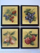 Fruit Country Kitchen Wall Decor Plaques 4 signs strawberries grapes yellow