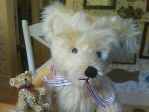 OOAK mohair Artist Teddy bear and her Boyds mini friend, Joyce Francies 16in VGC