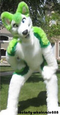 Long Fur Green Husky Dog Mascot Costume Fox Adult Fancy Suit Unisex Handmade New