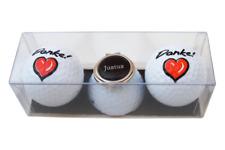 """Golf-Geschenk-Set: 2 Golfbälle """"DANKE!"""" und Cap-Clip mit Namen oder Initialen"""