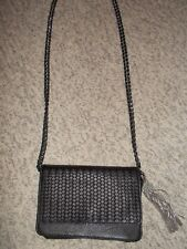AIMEE KESTENBERG BLACK LEATHER CROSSBODY PURSE W/METAL TASSEL CHAIN STRAP