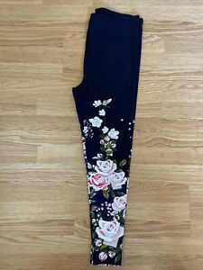 NWT LuLaRoe Leggings TC Dipped Floral Roses Navy Blue Gorgeous Fits 12/18