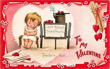 Tuck Valentine Postcard Sleeping Boy with Hot Roasted Chestnuts & Hearts~109522