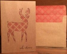 New Holiday Christmas Card Set of 6 With Envelopes 6 x 4 Inch Oh Deer Cute