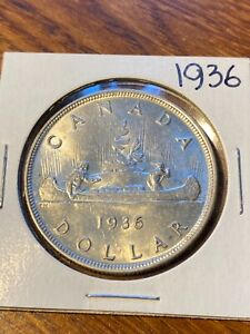 1936 CANADA SILVER DOLLAR..CHOICE BU..