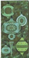 VINTAGE CHRISTMAS MODERN RETRO BLUE GREEN GOLD ORNAMENTS MCM GREETING ART CARD