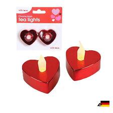 2er Set LED HERZ TEELICHT Teelichter Herz rot Valentinstag Geburtstag Kerzen