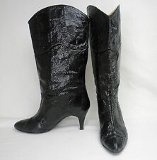 Vintage House of Reptile Black Alligator Leather Tall Western Cowboy Boots 10 M