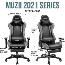 Gaming Chair with Footrest Office Racing Style Computer Swivel Desk Chair Gray