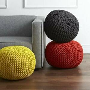 Knit Pouf Floor Ottoman 100% Cotton Braid Cord Foot Stool Home Decorative Seat