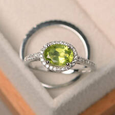 1.90 Ct Natural Peridot Diamond Ring 14K White Gold Wedding Band Set Size O P