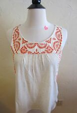 Lucky Women's Size X-Small Embroidered Tank Top Oatmeal/Orange