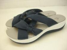 Clarks Cloudsteppers Women's sz 6.5 M Arla Rae Navy Blue Sandals Wedge Platform
