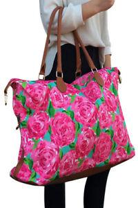 Large pink rose print weekend getaway bag