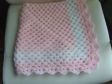 "PALE PINK+WHITE HAND KNIT CROCHET BLANKET 27"" X 27"""