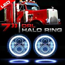 LED Headlamps Headlights Chrome w/Halo DRL Upgrade for Peterbilt 359 379