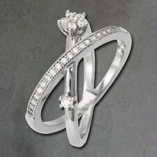 Anillos de joyería con gemas blancas de plata de ley