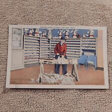 Vintage Postcard Wooden Shoe Factory, Holland, Mich., Worker Making Shoes