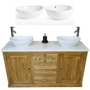 Solid Oak Bathroom Double Vanity Unit Cabinet White Marble Ceramic Basin Set 603